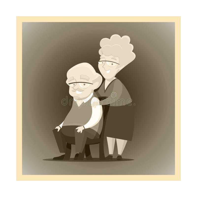 Vieille photo noire et blanche avec les grands-parents plus âgés heureux posant ensemble illustration de vecteur