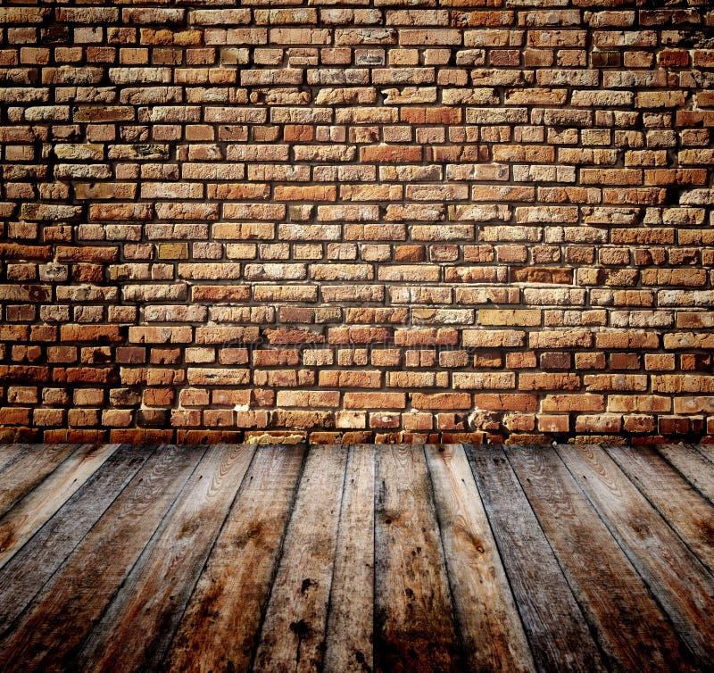 Vieille pièce avec le mur de briques illustration libre de droits