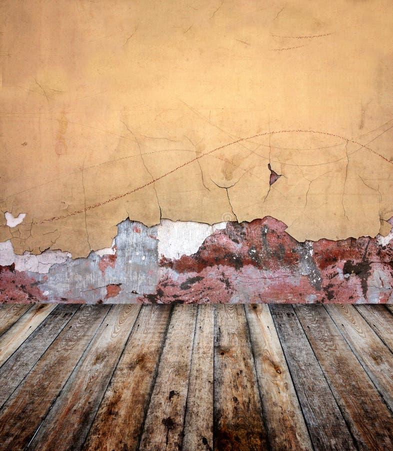 Vieille pièce avec le mur de stuc illustration de vecteur