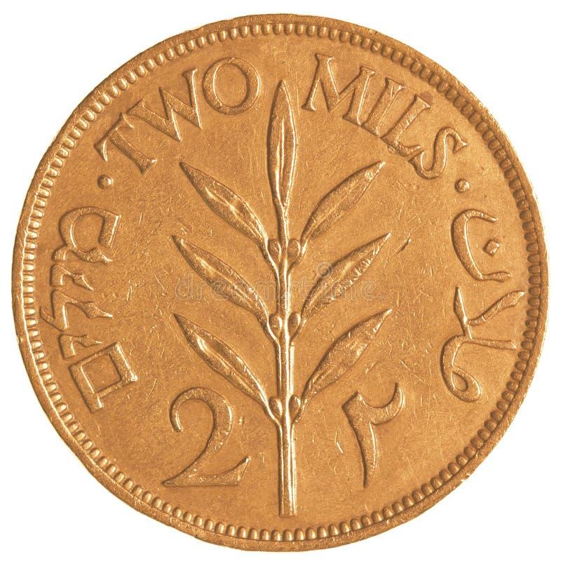 vieille pièce de monnaie de mil de l'Israélien 2 de l'ère britannique de mandat images libres de droits