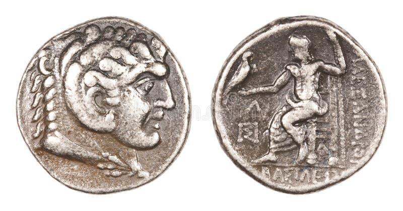 Alexandre la grande pièce de monnaie images stock