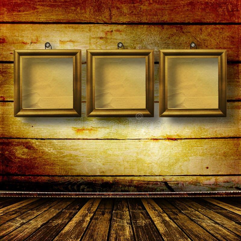 Vieille pièce, intérieur grunge avec des trames image libre de droits