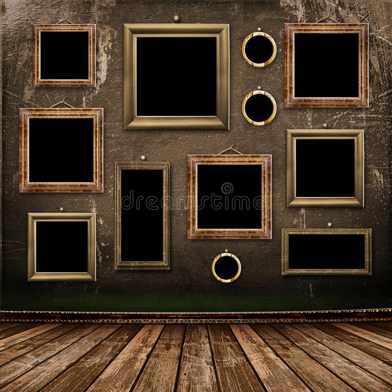 Vieille pièce, intérieur industriel grunge image stock