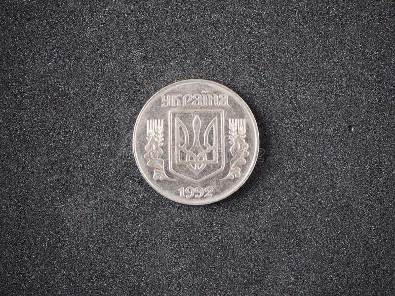 Vieille pi?ce de monnaie de l'Ukraine 5 côté de queue du kopeika 1992 de kopecks d'isolement photographie stock libre de droits