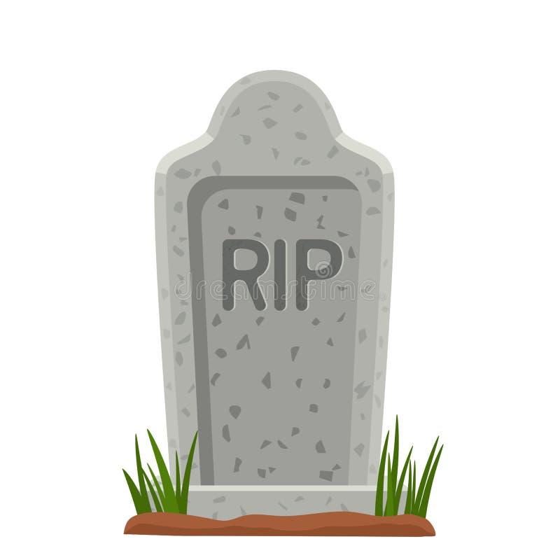 Vieille pierre tombale en pierre avec l'herbe Le symbole de Halloween illustration d'isolement par illustration illustration de vecteur