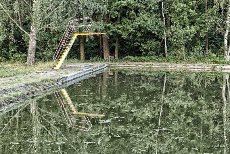 Vieille piscine broussailleuse verte photos stock
