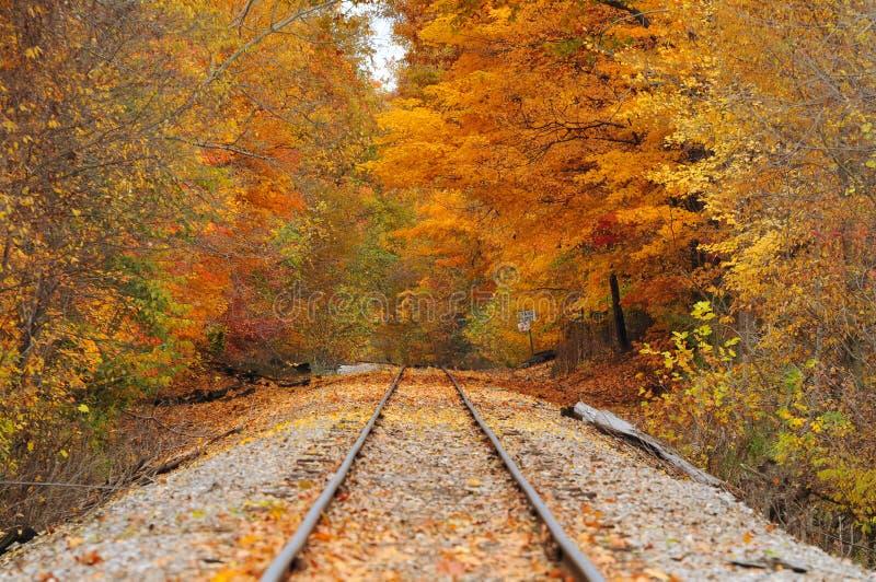 Vieille piste en automne photographie stock