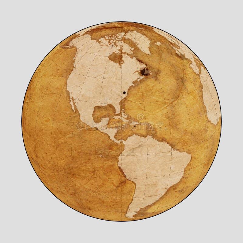 Vieille PLAINE de carte du monde de la terre illustration stock