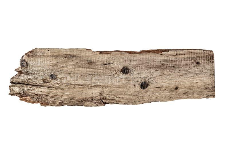 Vieille planche de bois d'isolement sur le blanc photos libres de droits