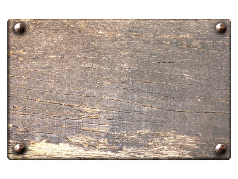Vieille planche en bois avec des clous de cru illustration de vecteur