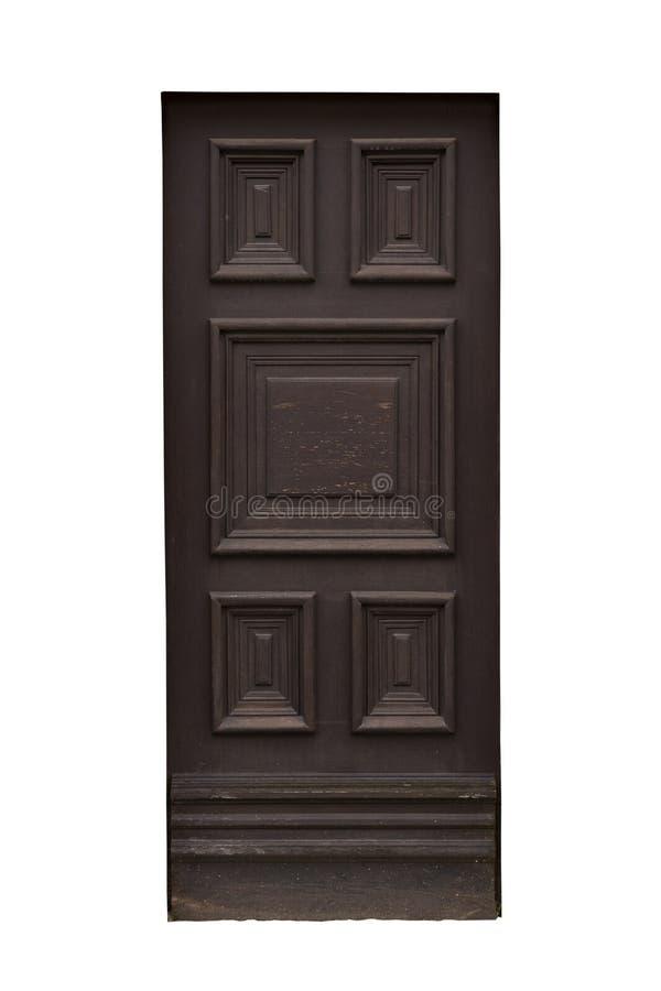 Vieille porte en bois brune découpée d'isolement sur le fond blanc, surface Chambre ou détail et décoration extérieurs de constru photographie stock libre de droits
