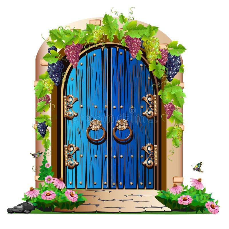 Vieille porte en bois dans le jardin illustration de vecteur