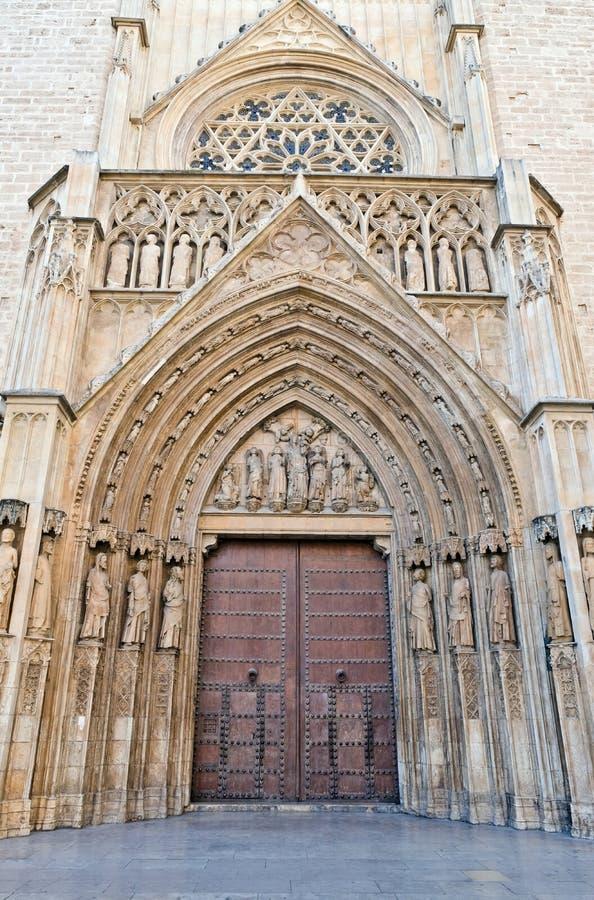 Vieille porte gothique, échange de Lonja de la Seda Silk, Valence photo stock
