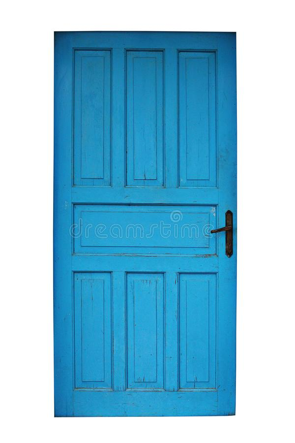 Vieille porte peinte bleue d'isolement photographie stock