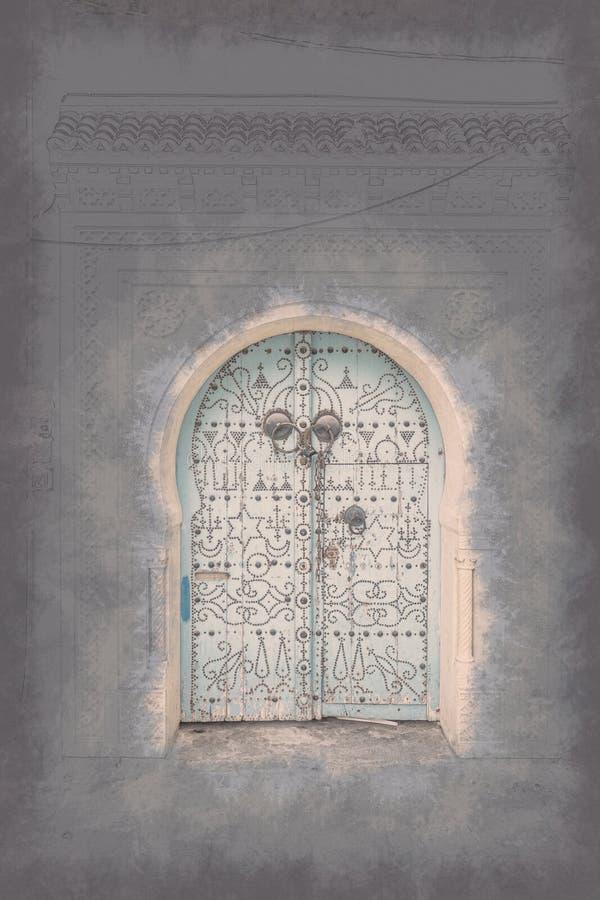 Vieille porte peinte traditionnelle en secteur ou Médina historique, Tunisie illustration de vecteur