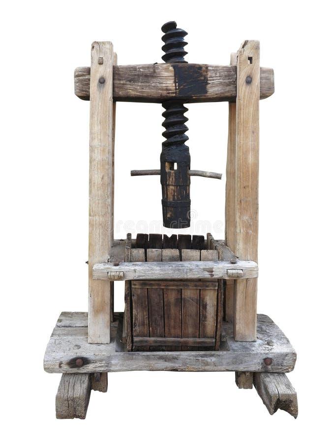 Vieille presse de vin en bois antique d'isolement sur le blanc image stock