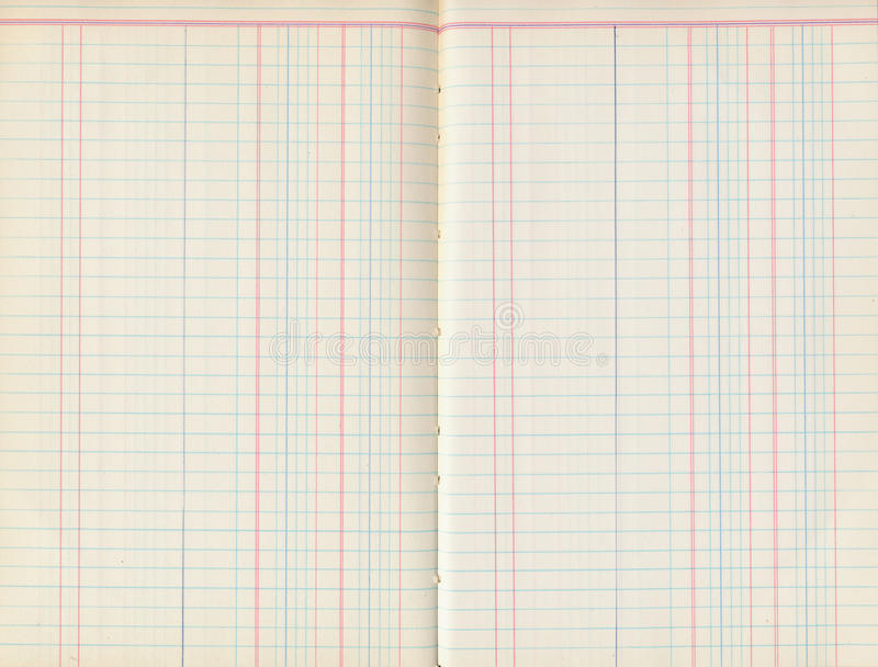 Vieille protection antique de papier pour livres de comptabilité avec des lignes photo stock