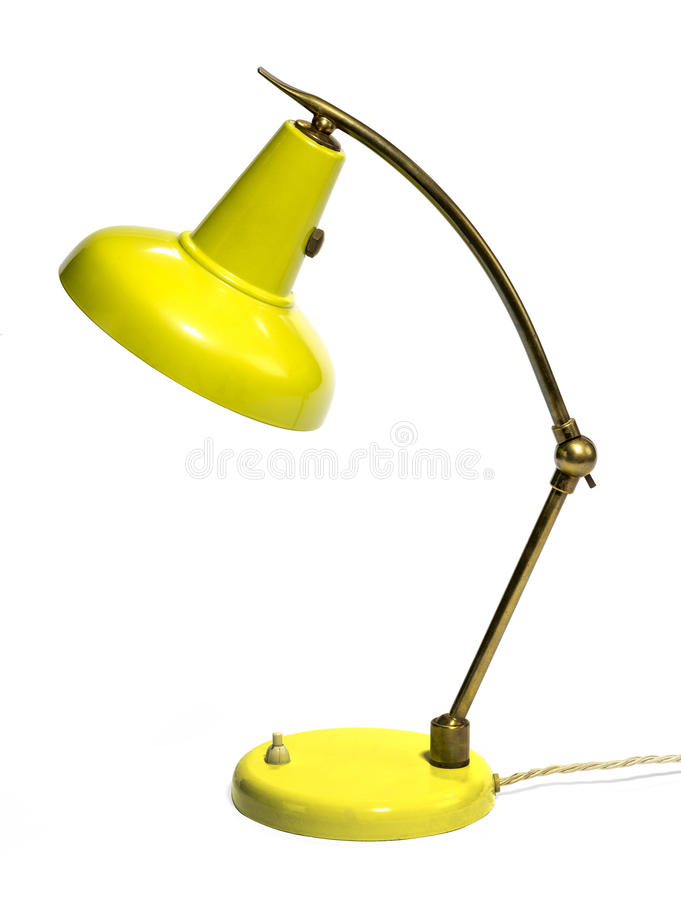 Vieille Rtro Lampe De Bureau Jaune Antique Disolement Sur Le
