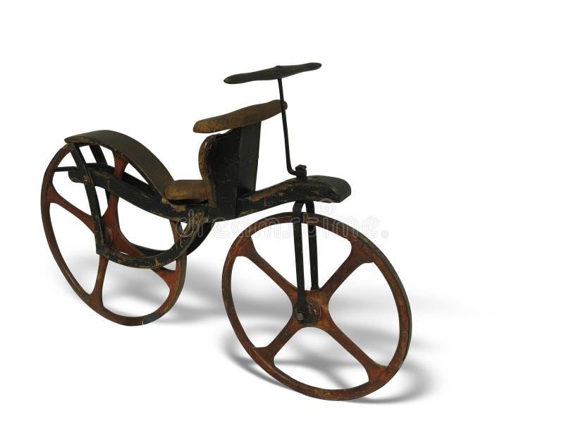 Vieille rétro bicyclette de vintage d'isolement sur le fond blanc photo stock