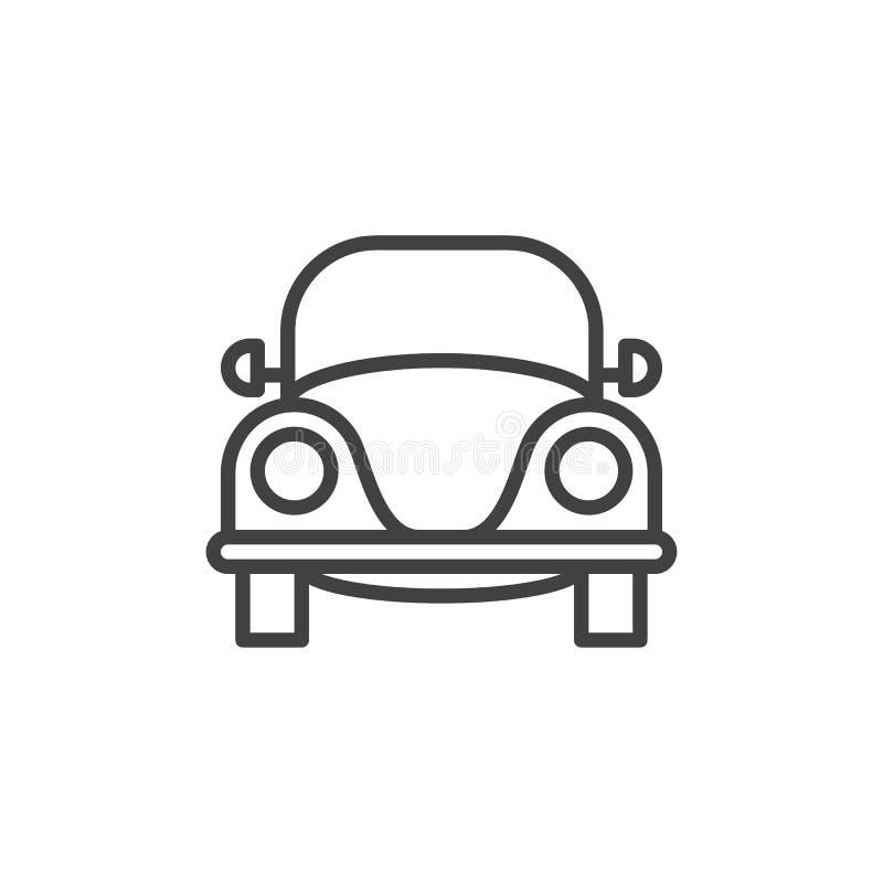 Vieille rétro ligne icône, signe de vecteur d'ensemble, pictogramme linéaire de voiture de style d'isolement sur le blanc illustration stock
