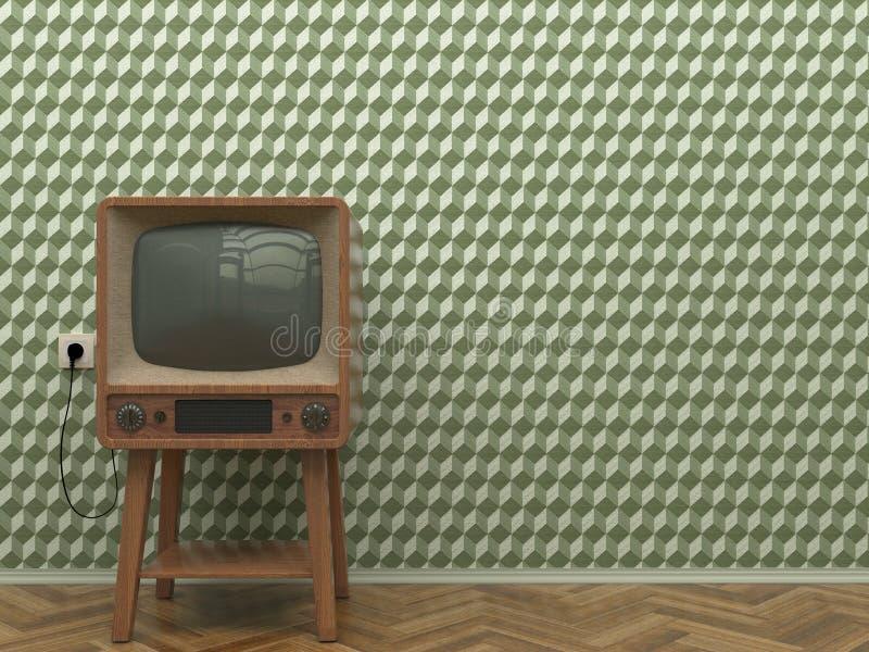 Vieille rétro TV à l'intérieur des supports de salon sur le plancher de parquet sur un fond d'un mur avec le wallpape abstrait ve illustration stock