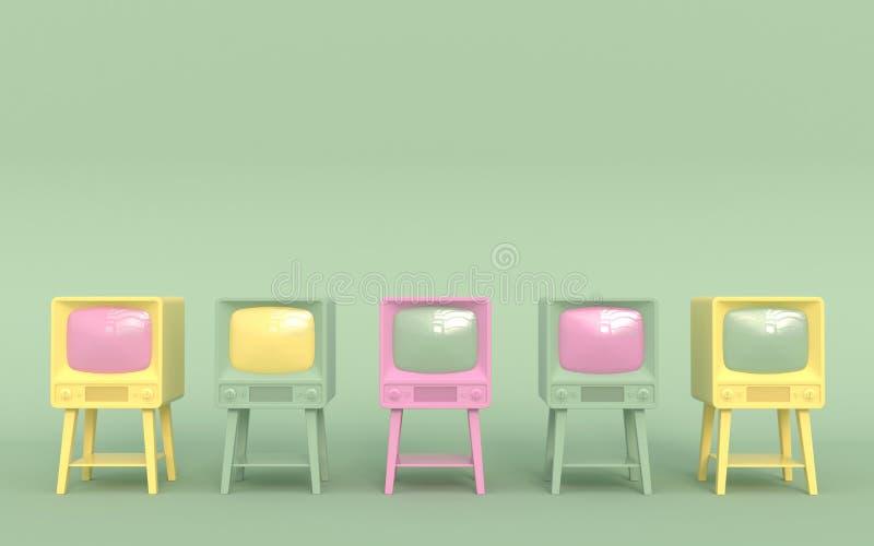 Vieille rétro TV dans des couleurs en pastel sur une position vert clair de fond dans une rangée Type de dessin animé illustratio illustration libre de droits