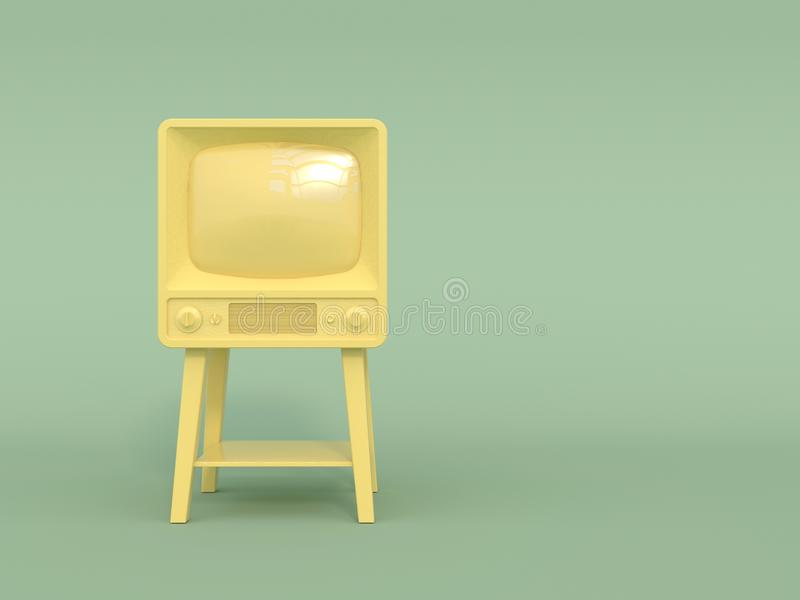 Vieille rétro TV dans la couleur jaune monochrome sur un fond vert clair Seul arbre congelé Copiez l'espace Type de dessin animé  illustration de vecteur