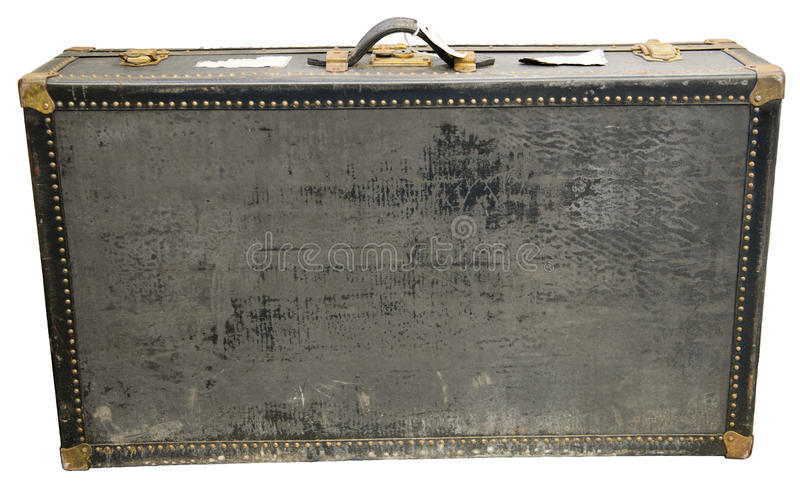 Vieille rétro valise de voyage de vintage d'isolement images libres de droits