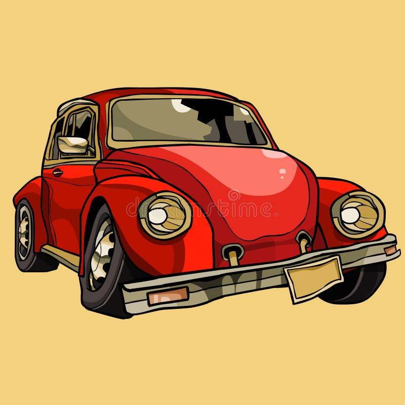 Vieille rétro voiture cassée par bande dessinée exigeant la réparation illustration libre de droits
