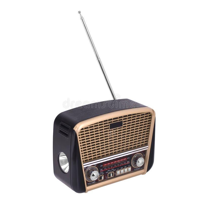 Vieille radio d'isolement sur le blanc images libres de droits