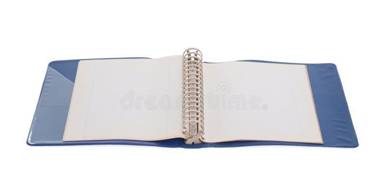 Vieille reliure à anneaux bleue d'isolement photos libres de droits