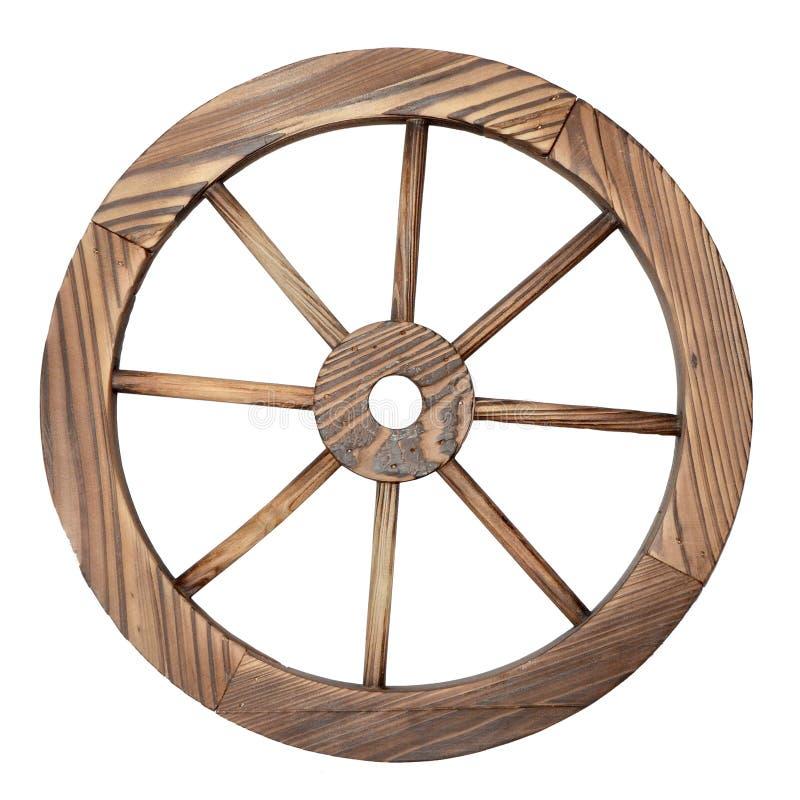 Vieille roue de chariot en bois sur le blanc images stock
