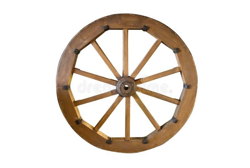 Vieille roue en bois d'isolement image stock