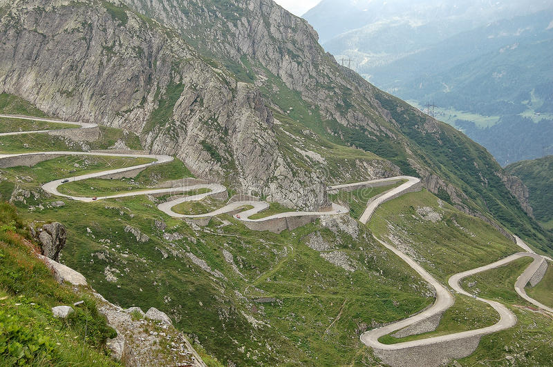 Vieille route au St Gotthard Pass photo stock