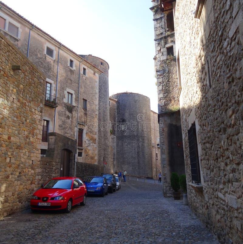 Vieille rue de Gérone photo stock