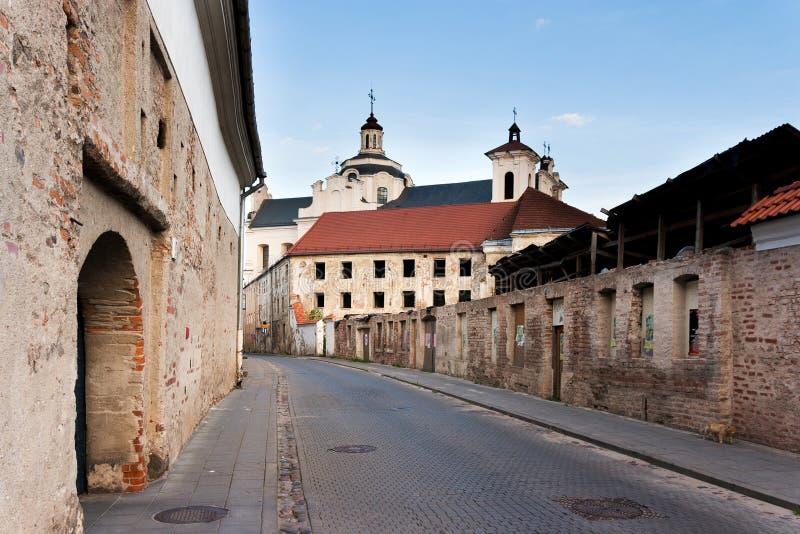 Vieille rue de ville de Vilnius photographie stock