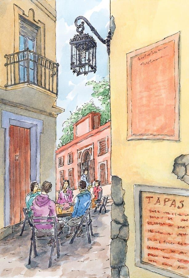 Vieille rue espagnole avec les personnes assises illustration stock