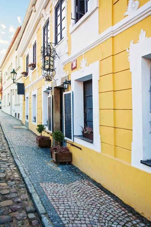 Vieille rue Prague, emplacements scéniques photos stock