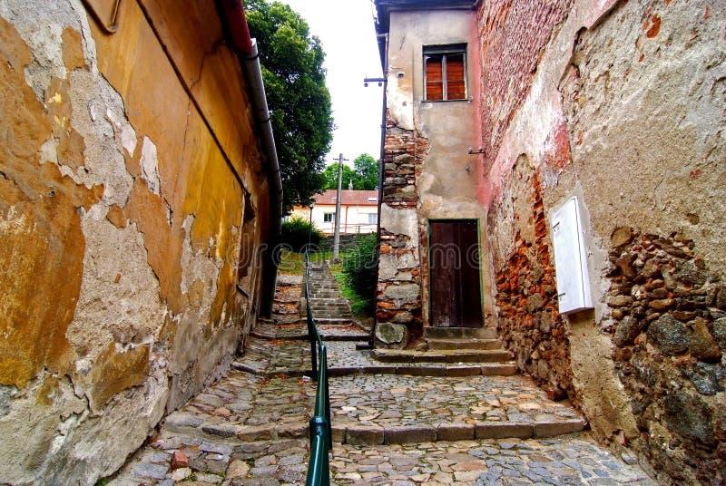 vieille rue quarte juive trebic photos stock