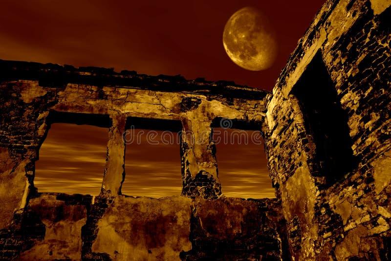 Vieille ruine dans le clair de lune illustration de vecteur