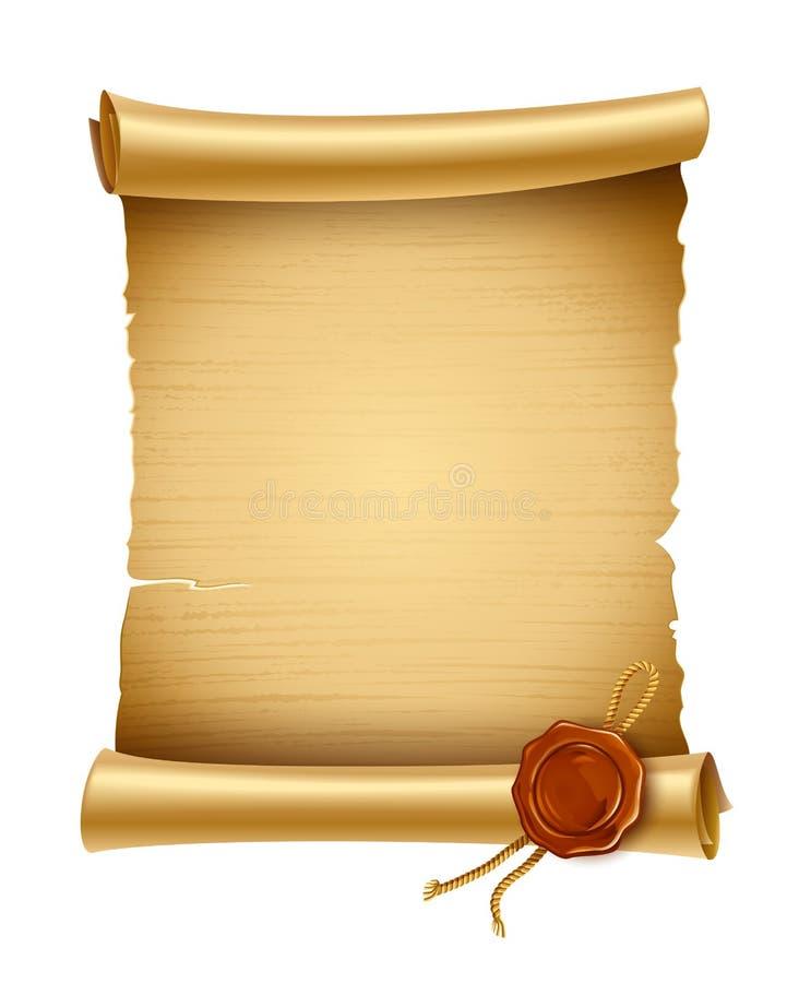 Vieille séquence type de papier avec l'estampille illustration stock