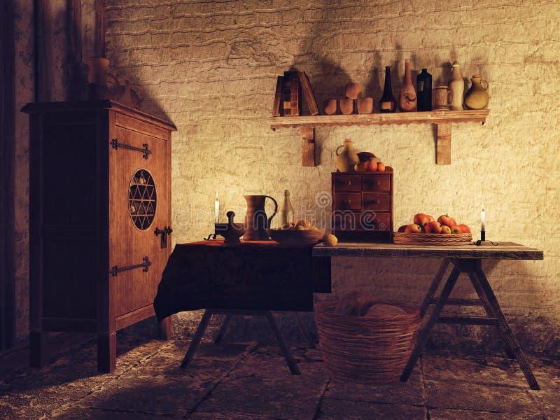 Vieille salle à manger illustration de vecteur