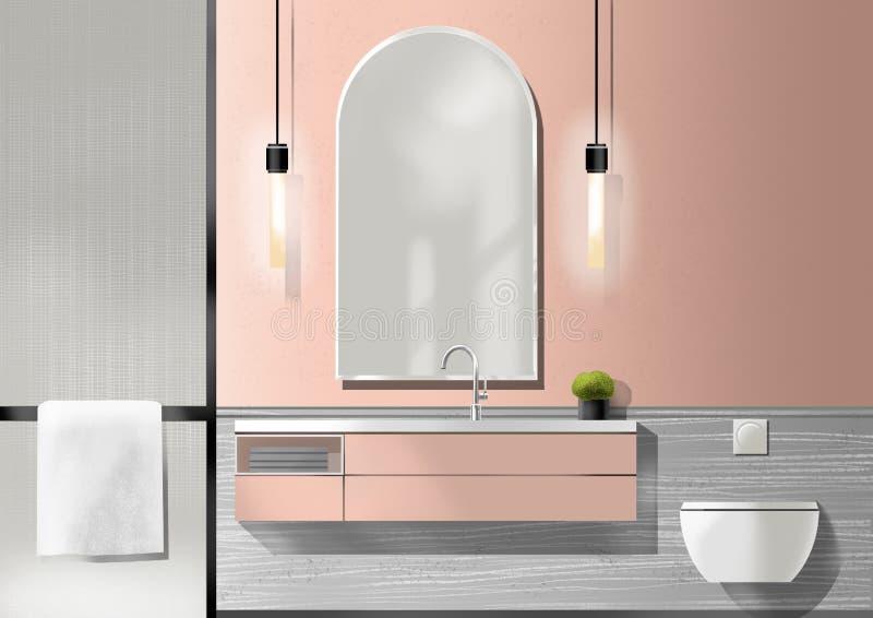 Vieille salle de bains rose avec la lampe, peinture d'illustration images libres de droits
