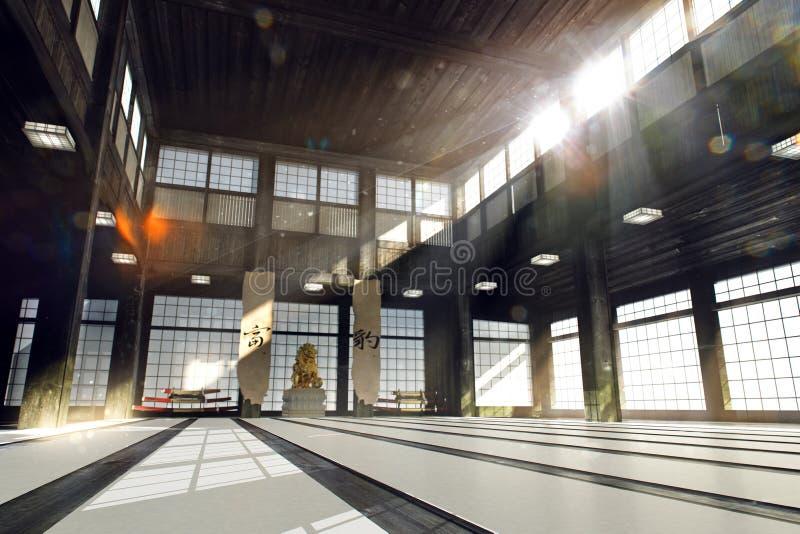 Vieille salle de gymnastique de japanse de karaté illustration de vecteur