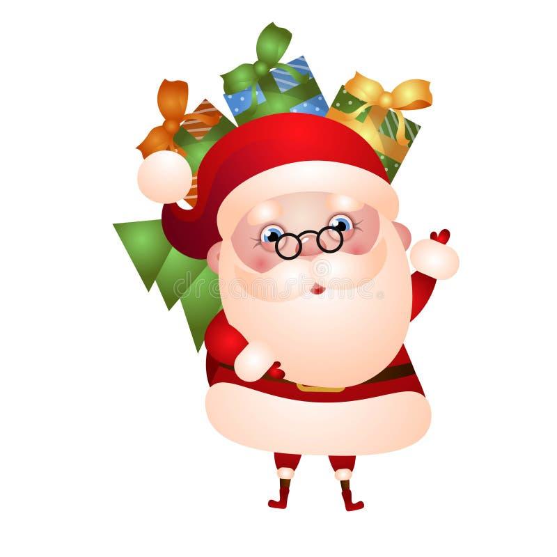 Vieille Santa Claus porte un sac des cadeaux illustration de vecteur