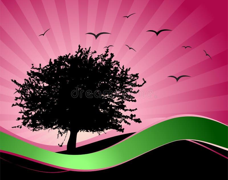 Vieille silhouette d'arbre, fond de saison illustration de vecteur