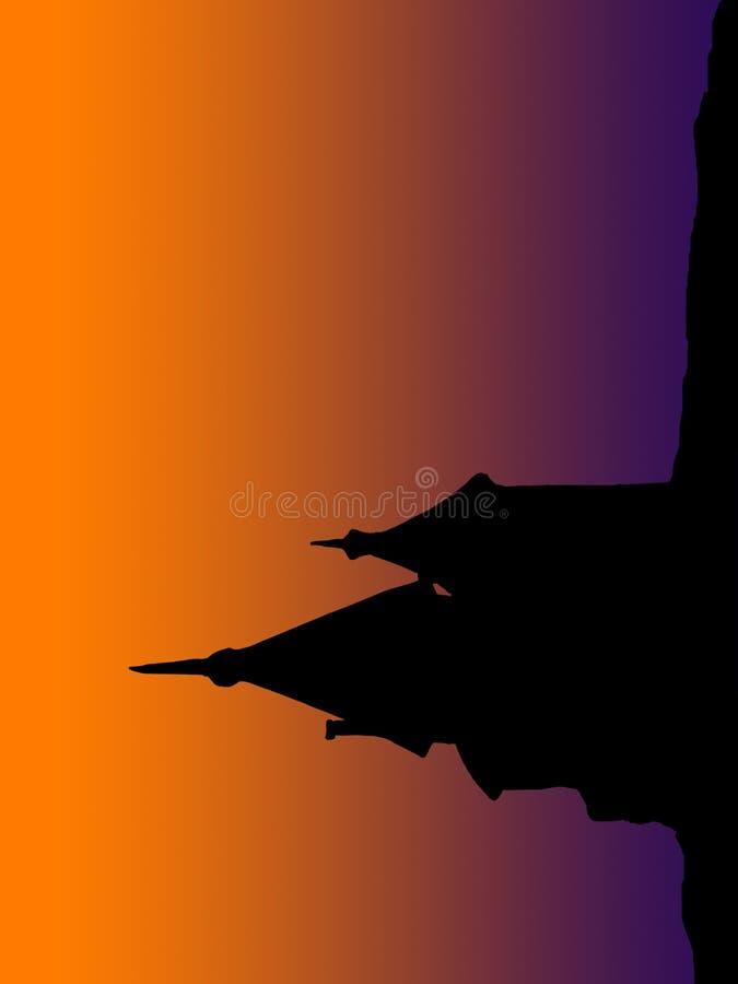 Vieille silhouette de construction à l'aube image libre de droits