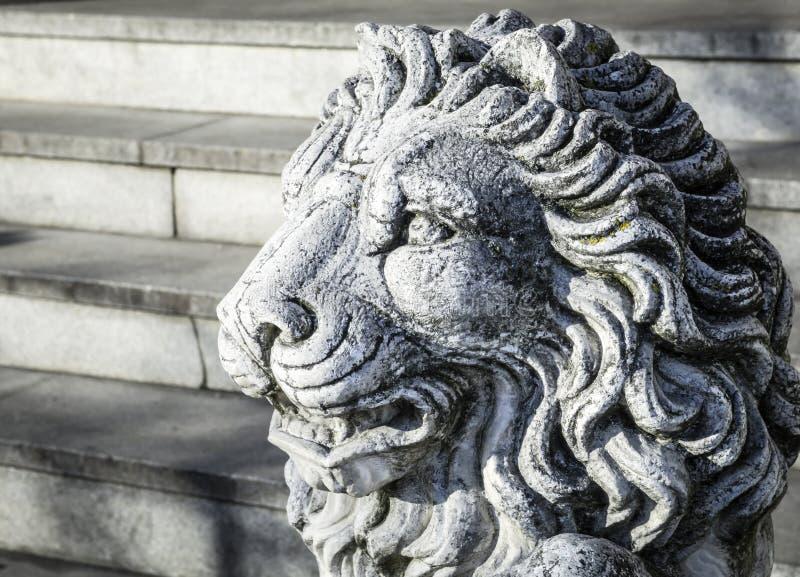 Vieille statue de lion image libre de droits