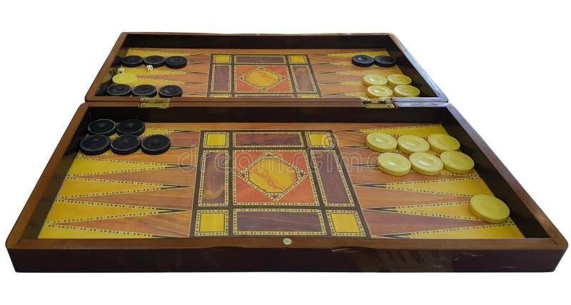 Vieille table en bois de backgammon d'isolement sur le fond blanc images libres de droits