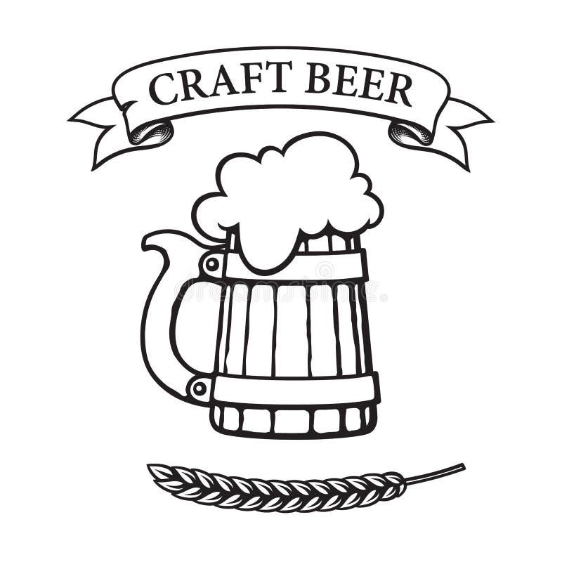 Vieille tasse de bière en bois avec la mousse Bannière de ruban de cru avec de la bière de métier des textes et l'oreille de l'or illustration stock